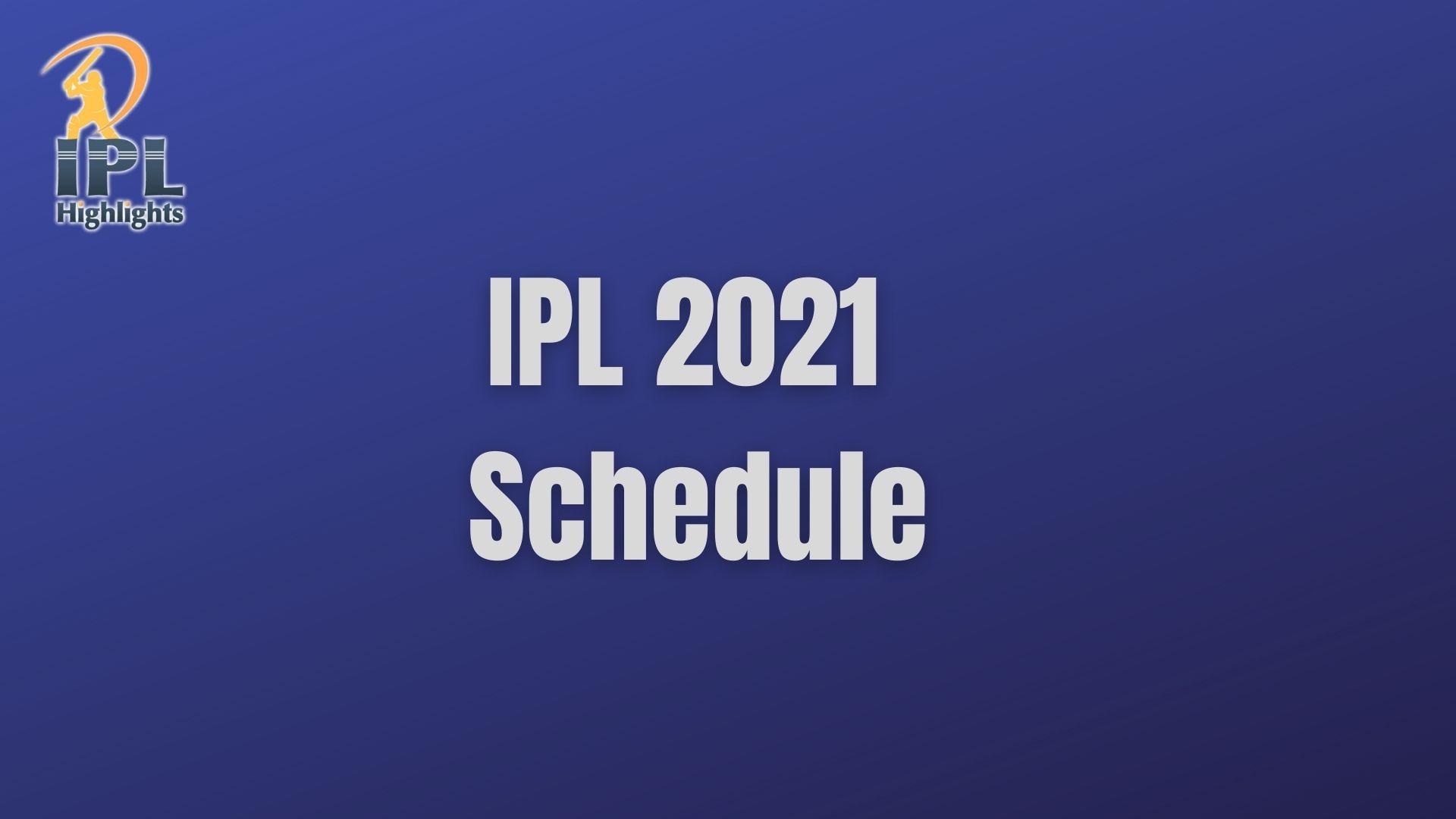 ipl2021 schedule